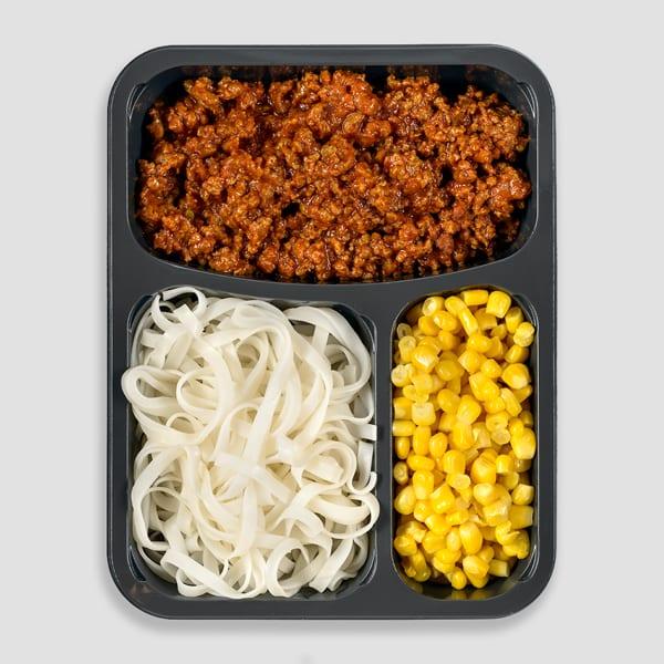 אטריות אורז, בולונז, גרגרי תירס
