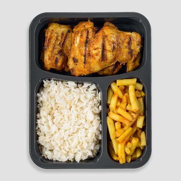 סטייק פרגית, אורז ושעועית צהובה